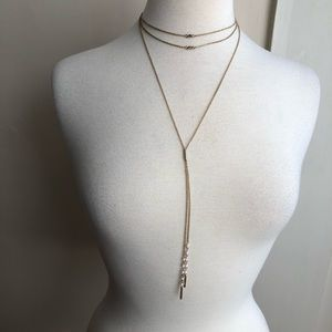 SUGARFIX layered choker necklace with long y chain